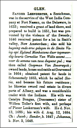 Sander Leendertse Glen - Genealogies of The First Settlers of Schenectady