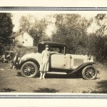Belle Vivell in new 1929 Buick Business Coupe