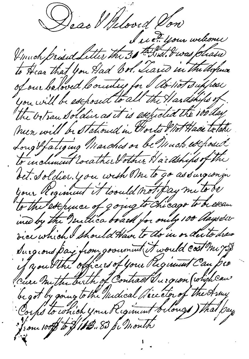 Dr. Clark Letter to his son Elias Clark Page 1