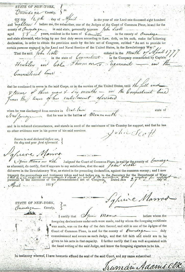 John Scott Revolutionary War Pension Papers page 3