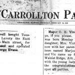 Marjorie Vivell Clark's birth announcement, Carrollton Patriot