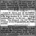 James M. Davis Death Announcement, Alton Evening Telegraph, June 10, 1885