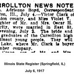 Victor and Violet Clark marriage, Illinois State Register, July 6, 1917
