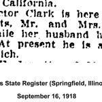 Mrs. Victor Clark visit, Illinois State Registers, September 16, 1918